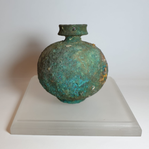 Ancient Roman footed Bronze Aryballos Vessel